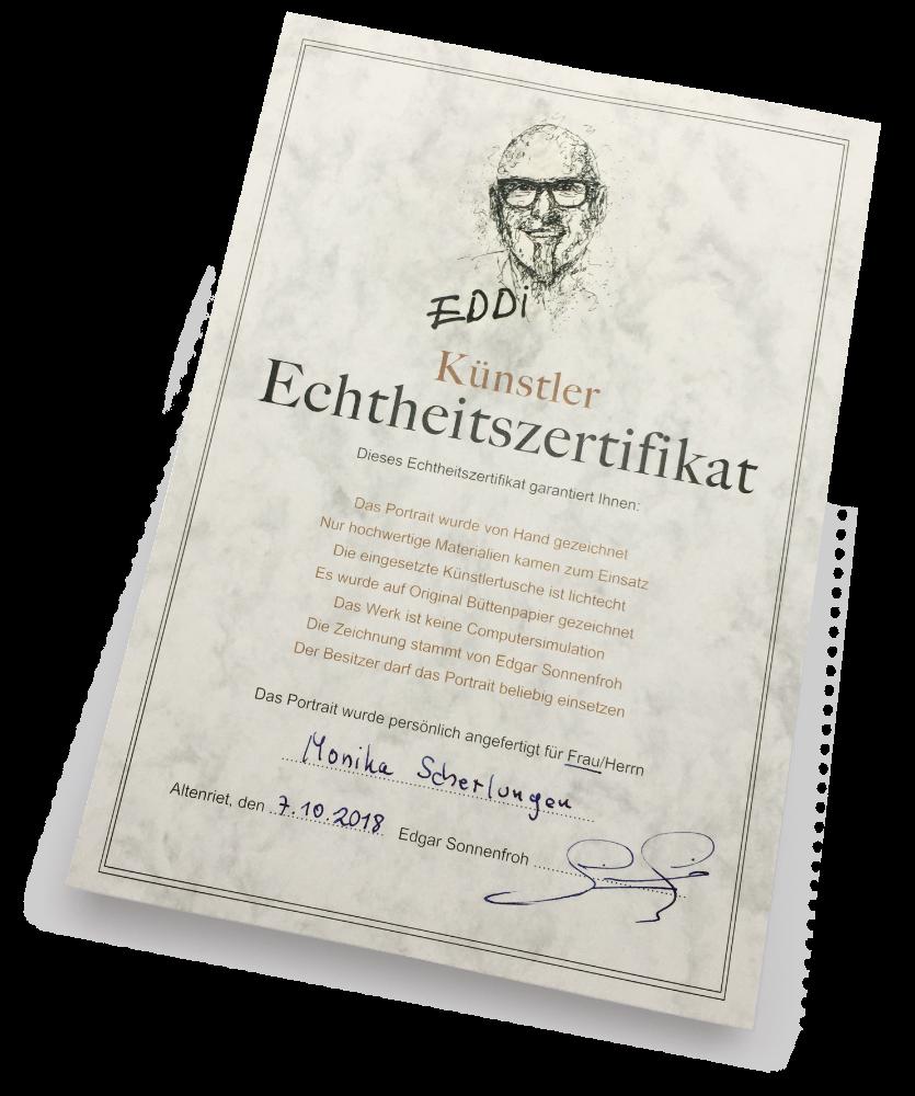 Echtheitszertifikat für alle Portraits und Zeichnungen