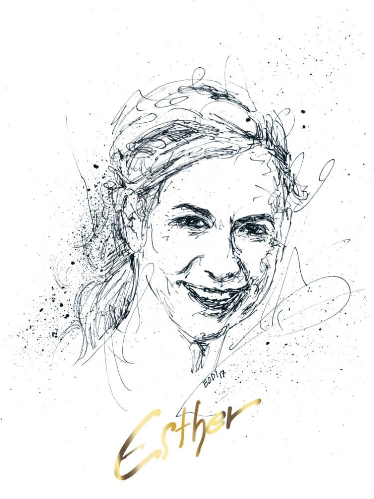 Portrait gezeichnet mit echtem Gold unterlegt
